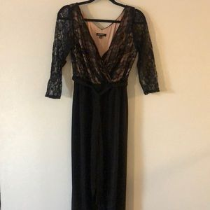 Black and nude lace full length jumpsuit